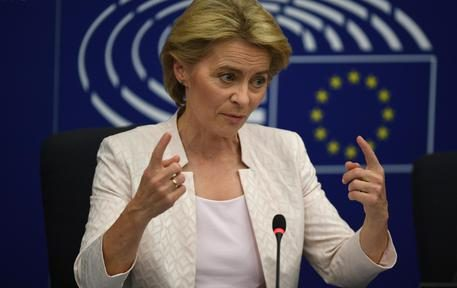 epa07720999 German Defense Minister Ursula von der Leyen and nominated President of the European Commission speaks after a vote at the European Parliament in Strasbourg, France, 16 July 2019. European Parliament voted in favor of Ursula von der Leyen as the new President of the European Commission.  EPA/PATRICK SEEGER