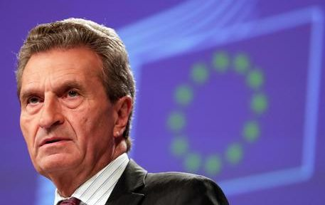 epa07736841 EU Budget Commissioner, German Guenther Oettinger gives a joint press conference on the governance framework for the Budgetary Instrument for Convergence and Competitiveness, the Anti-Money Laundering Package and the application of the new data protection rules at the European Commission in Brussels, Belgium, 24 July 2019. Commission proposes a governance framework for the Budgetary Instrument for Convergence and Competitiveness  EPA/STEPHANIE LECOCQ