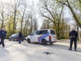 epa08342529 A drone used by police to monitor activities of people in the JubelPark in Brussels, Belgium, 04 April 2020. In order to contain the spread of coronavirus, Belgium is under lockdown, which is scheduled to be in place until 19 April 2020. Only supermarkets and essential trade will remain open.  EPA/JULIEN WARNAND
