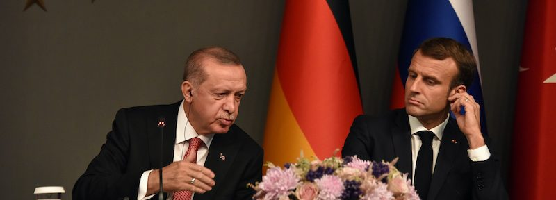 Turkey President Recep Tayyip Erdogan and French President Emmanuel Macron attends a news conference following their summit on Syria, in Istanbul, Saturday, October 27, 2018. The leaders of Turkey, Russia, France and Germany were gathered for a summit Saturday in Istanbul about Syria.