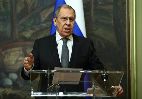 epa08988746 A handout photo made available by the press service of the Russian Foreign Affairs Ministry shows Russian Foreign Minister Sergei Lavrov during a joint news conference with High Representative of the EU for Foreign Affairs and Security Policy, Josep Borrell (not pictured) following their talks in Moscow, Russia, 05 February 2021. Borrell is on a working visit to Moscow.  EPA/RUSSIAN FOREIGN AFFAIRS MINISTRY HANDOUT -- MANDATORY CREDIT -- HANDOUT EDITORIAL USE ONLY/NO SALES